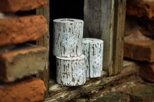 drewniany świecznik shabby chic