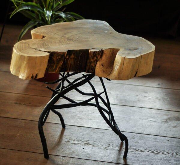 stolik kawowy z plastra akacjowego