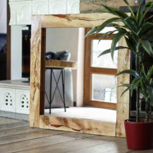 lustro drewniane na ścianę