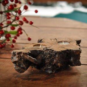 drewniany świecznik tealight