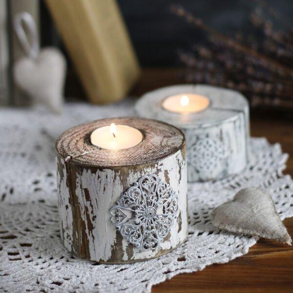 drewniane świeczniki shabby chic